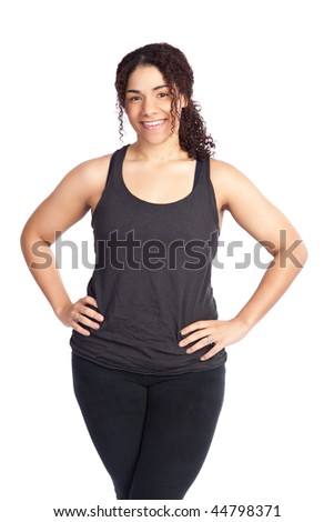 An isolated shot of a woman ready for exercise