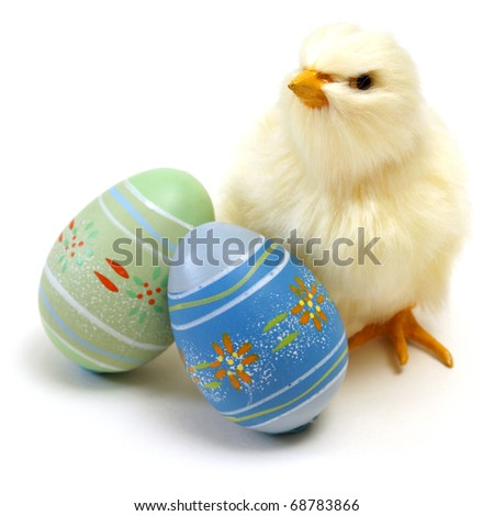An isolated shot of an Easter chick and some eggs for the seasonal holiday.