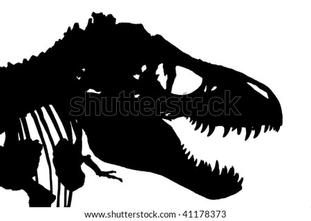 An isolated silhouette of a Tyrannosaurus Rex skeleton