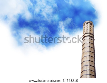 An isolated  smoke stack has bright blue clouds coming out of it instead of dirty polluted smoke. Use this to represent clean air and the future of energy.