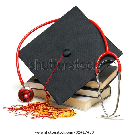 An isolated stethoscope and mortarboard represent a graduating healthcare professional.