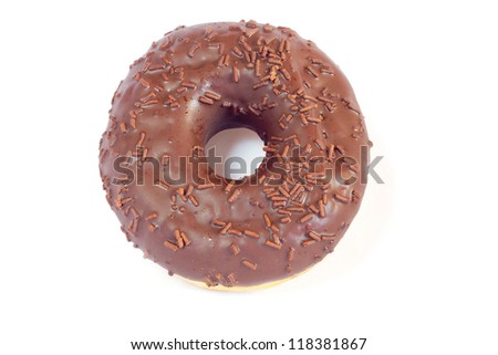 An isolated, sweet chocolate doughnut on white