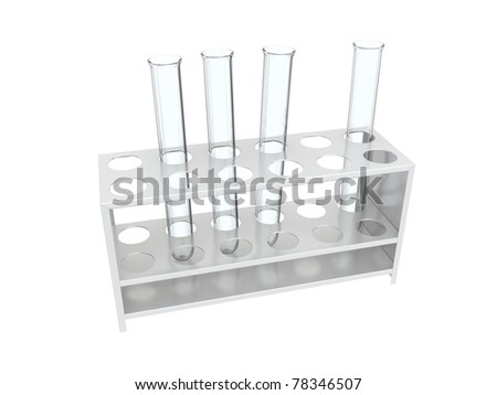 An isolated three glass test tubes in a rack on white background Stock photo ©