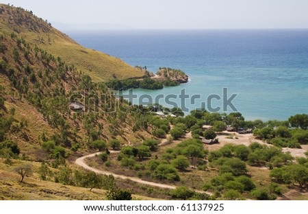 An isolated village in a prestine beach in timor leste