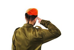 An Israel Defense Forces soldier wearing an orange beret salutes.  IDF soldier, young israeli, salutes on white isolated background. Jewish soldier