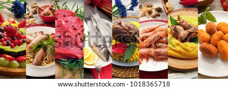 an italian gastronomy collage background