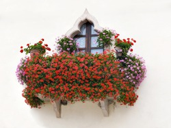 An Italian house balcony with pink and red flowers