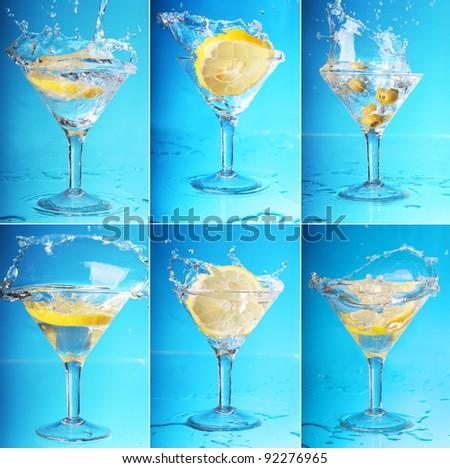 an lemon splashing into a martini. six large images