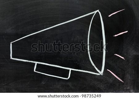 An loudspeaker drawn on the chalkboard
