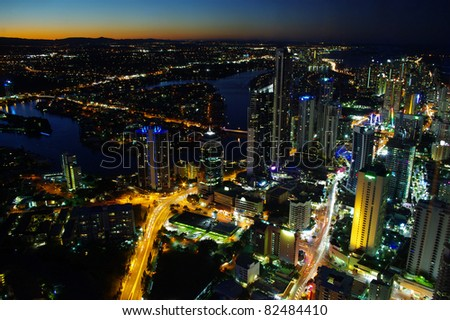 An night aerial city view of Surfers Paradise, Gold Coast at evening