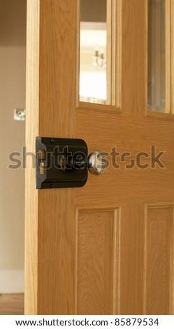 An oak door and mortice lock