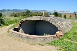 An observation bunker built during the Second World War, as part of the American coastal defense.  Muir Beach Overlook, California.