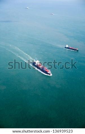 An ocean tanker on the open sea #136939523