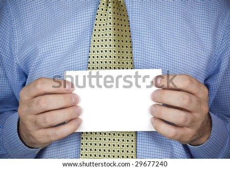 An office man holding a blank card with his hands.