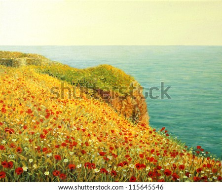 An oil painting on canvas of a beautiful seascape with vivid red poppies at the Black sea coast in the warm light of the sunset.