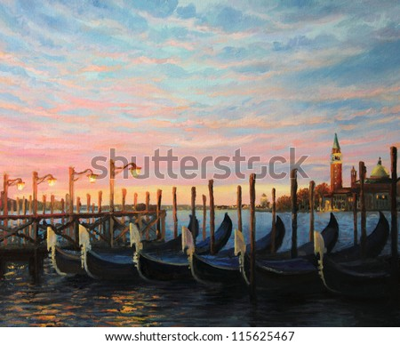 An oil painting on canvas of a breathtaking colorful sunrise in Venice at the waterfront looking toward San Giorgio Maggiore with gondolas docked at the pier at the front of the landscape.