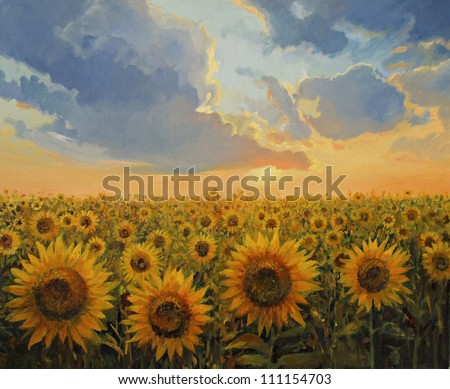 An oil painting on canvas of a breathtaking rural sunset scene with a sunflowers field. Colorful floral landscape lit by the warm light of the sun in the last hours of the day.