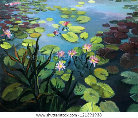An oil painting on canvas of a colorful pond with beautiful lotus flowers and the sky reflection on the water surface.