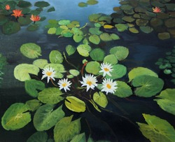 An oil painting on canvas of a colorful pond with beautiful water lilies, lotus flowers and the sky reflection on the water surface.