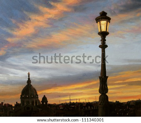 An oil painting on canvas of a early evening view from the capital of Italy, Rome with the silhouette of the cathedral dome and a beautiful lamp post in front of the colorful sunset.