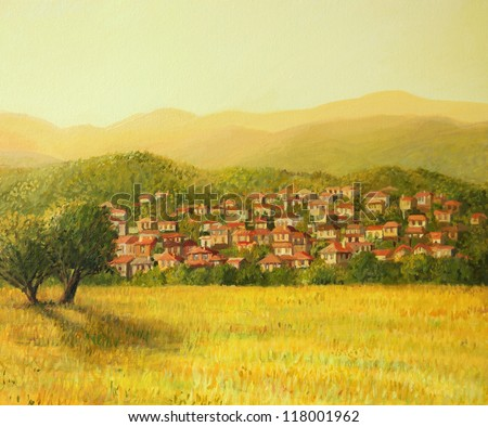 An oil painting on canvas of a golden rural sunset scene with a small village hiding on the mountain slopes. Seasonal landscape in the warm light of the late afternoon.
