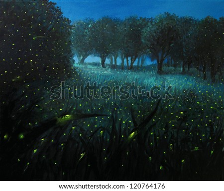 An oil painting on canvas of a night scene with fireflies and forest meadow shining in bright blue by the moon light, creating a fairy tale feeling about the landscape.