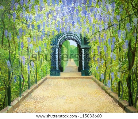 An oil painting on canvas of a romantic garden walkway forming a tunnel of flowering acacias at Schonbrunn Palace in Vienna, Austria.