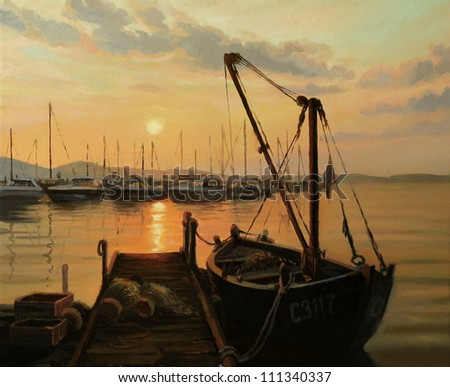 An oil painting on canvas of a romantic warm golden ocean sunset over the yacht harbor, with tranquil water surface, sun path and an old fishing boat tied to the pier.