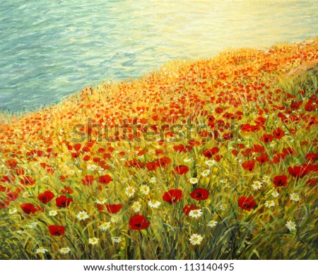 An oil painting on canvas of a tranquil scene at the sea coast. High above the water surface a carpet full of red poppies and white daisies is blooming in the late spring afternoon.
