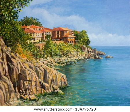 An oil painting on canvas of a tranquil summer day in Sozopol, Bulgaria. With crystal clear calm waters in the bay and the houses of the old town scattered on the cliffs above the sea.