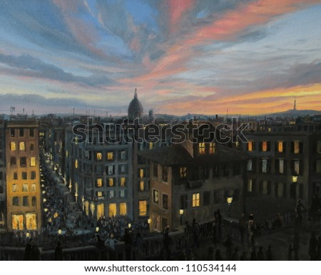 An oil painting on canvas of Rome, the capital of Italy in a summer evening with a colorful  panoramic sunset view toward the city from the top of the spanish steps.