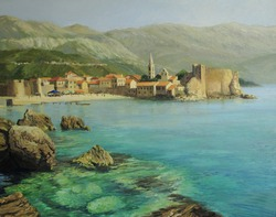 An oil painting on canvas of the bay near old town Budva on the Montenego riviera with the  beach and the fortress city walls at the background.