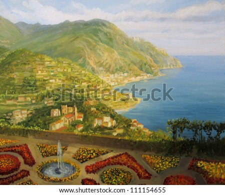 An oil painting on canvas of Villa Rufolo formal gardens in Ravello, offering from the terrace a breathtaking panoramic view of the picturesque Amalfi coast in Italy.