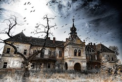 An old, abandoned and creepy castle, flock of birds, creepy tree