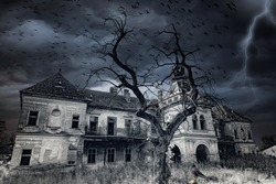 An old, abandoned and creepy castle, flock of birds, creepy tree, lightning