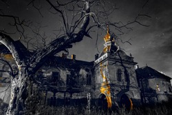 An old, abandoned and creepy castle on a dark and gray starry night, creepy tree