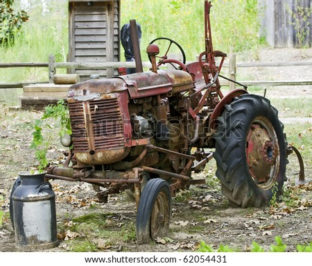 An Old abandoned Antique Tractor in Farm Country