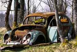 An old abandoned car in the nature
