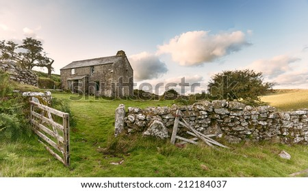 An old abandoned farm cottage on Bodmin Moor in Cornwall - vintage effect
