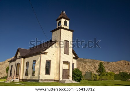 An old abandoned Mormon Church built by settlers in Emery Utah.
