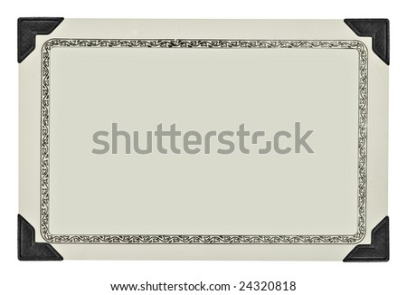 An old and faded blank photo isolated on a white background. Clipping path on inside of frame.