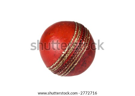 An old and worn cricket ball isolated against white #2772716