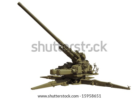 An old anti-aircraft cannon or a zenith gun. Isolated. #15958651