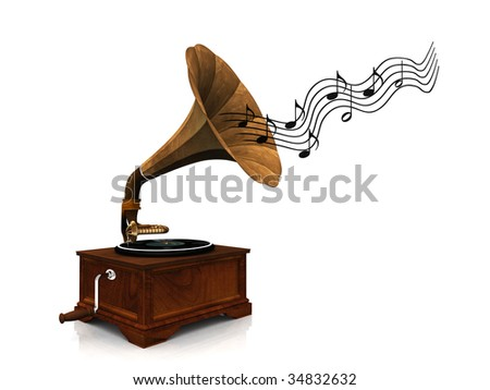 An old antique gramophone with notes coming out from it symbolizing that it's playing music. #34832632