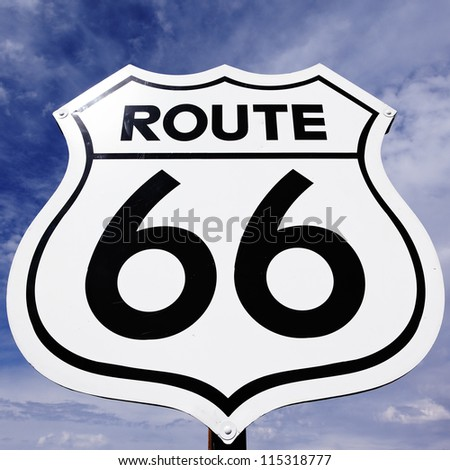 An old, antique, nostalgic route 66 sign