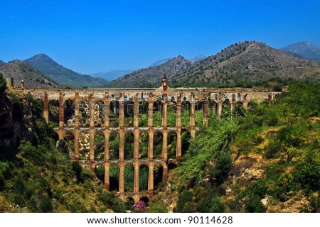 An old aqueduct near Nerja, Andalusia, Spain