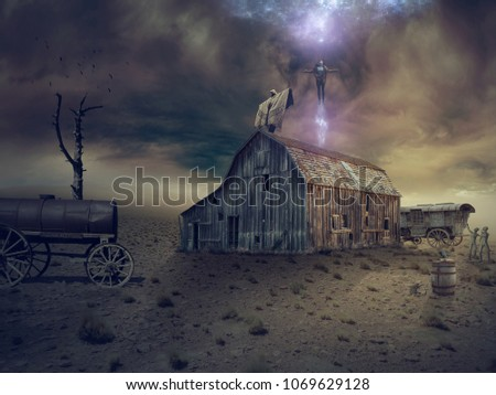 An old barn, an old metal barrel on wheels, a severe sky, a mystical ritual. #1069629128