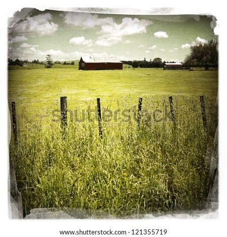 An old barn in rural scene