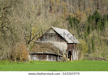 An old Barn in the river Enns valley in Upper Austria. The valley is one of the most beautiful landscapes in Upper Austria. The Barn stands in Grossraming. A small village near Steyr