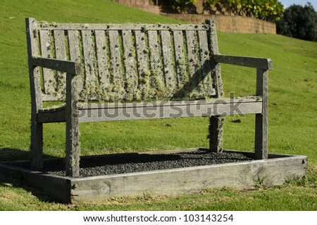 An old bench in the park.